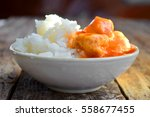 meat in tomato sauce with a... | Shutterstock . vector #558677455