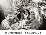 portrait of a group of friends... | Shutterstock . vector #558684775