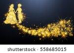 golden sparkle wedding couple... | Shutterstock .eps vector #558685015
