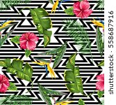 seamless pattern with tropical... | Shutterstock .eps vector #558687916
