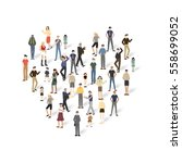 group of people with copyspace... | Shutterstock .eps vector #558699052