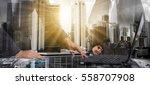 double exposure of success... | Shutterstock . vector #558707908