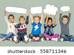 children smiling happiness... | Shutterstock . vector #558711346
