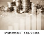 double exposure of city   graph ... | Shutterstock . vector #558714556