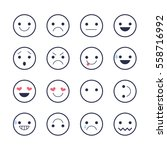 smiley emoticons line icons. ... | Shutterstock .eps vector #558716992
