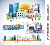 industrial estate skyscraper... | Shutterstock .eps vector #558718516