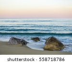 Deserted Sandy Beach At Sunset...
