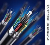 macro fiber optical cable... | Shutterstock . vector #558723736