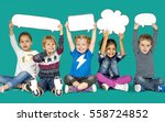 children smiling happiness... | Shutterstock . vector #558724852