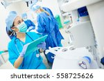 nurse checking all the... | Shutterstock . vector #558725626