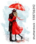 Romantic Couple Under An Red...