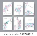 set of artistic universal cards.... | Shutterstock .eps vector #558740116