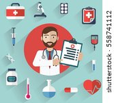 doctor showing diagnoses with... | Shutterstock .eps vector #558741112