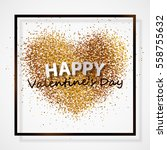 poster with heart of golden... | Shutterstock .eps vector #558755632