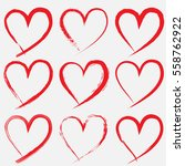 set of valentine heart isolated ... | Shutterstock .eps vector #558762922