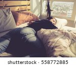Asian Woman Sleep On Bed In Th...