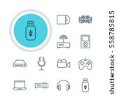 illustration of 12 gadget icons.... | Shutterstock . vector #558785815