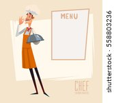 cartoon chef carrying dinner... | Shutterstock .eps vector #558803236