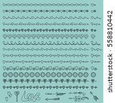 hand drawn borders  swirls and... | Shutterstock .eps vector #558810442