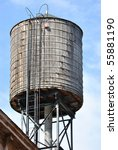 Antique Wood Water Tower On A...