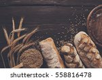 bread border on wood with copy... | Shutterstock . vector #558816478