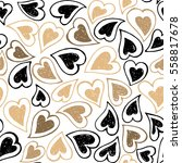Hand drawn vector seamless background pattern with hearts. Gold and black backdrop for wrapping paper, greeting cards, posters, invitation, wedding and Valentines cards.
