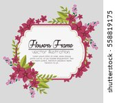 cute flowers frame background | Shutterstock .eps vector #558819175
