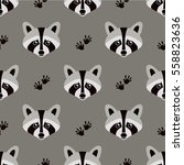 seamless raccoon pattern in... | Shutterstock .eps vector #558823636