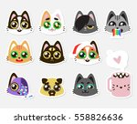 Stock vector set collection of cute kawaii style cat kitten kitty pet puppy pug mug cup labels 558826636