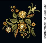 flower embroidery on black... | Shutterstock .eps vector #558831232