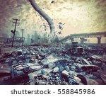 ruins of a city and tornado.... | Shutterstock . vector #558845986