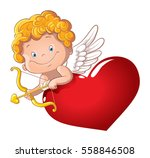 Cute Playful Cupid With Bow And ...