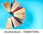 top view of colorful hardback... | Shutterstock . vector #558847096