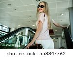 blonde lady smiles tender... | Shutterstock . vector #558847762