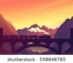 train on railway bridge with... | Shutterstock .eps vector #558848785