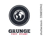 grunge post stamp. circle... | Shutterstock .eps vector #558853942