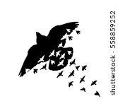 a flock of flying birds. vector | Shutterstock .eps vector #558859252