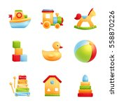 baby toys icon set isolated.... | Shutterstock .eps vector #558870226