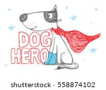 Stock vector dog hero dog vector illustration with superhero vector cartoon illustration 558874102