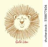 Lion. Cute Cartoon Illustratio...