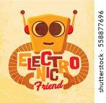 robot. vintage cute spaceman... | Shutterstock .eps vector #558877696