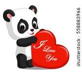 panda cartoon with love | Shutterstock . vector #558883966