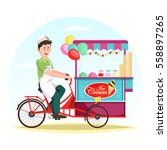 man selling ice cream at cart...   Shutterstock .eps vector #558897265