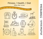 weight loss  diet icons set....   Shutterstock .eps vector #558898366