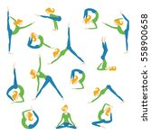 vector yoga asana poses set... | Shutterstock .eps vector #558900658