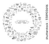 hand drawn doodle fast food...   Shutterstock .eps vector #558903646