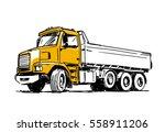 dump truck sketch isolated on... | Shutterstock .eps vector #558911206