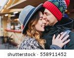 closeup portrait happy lovely... | Shutterstock . vector #558911452