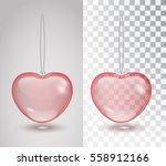 Red Transparent Heart Isolated...