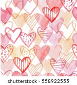 happy valentines day watercolor ... | Shutterstock .eps vector #558922555